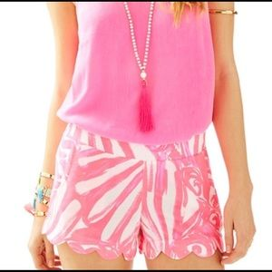 Lilly Pulitzer Pink and Orange Dahlia Shorts